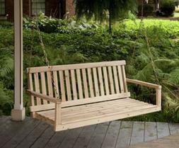 Wooden Porch Swing Natural Wood Patio Outdoor Yard Garden Be