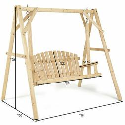 Wooden Porch Swing Outdoor Patio Rustic Torched Log Curved B