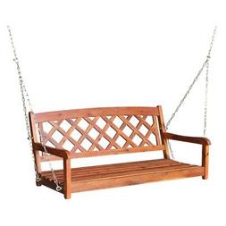 International Concepts X- Back Porch Swing with Chain, Brown