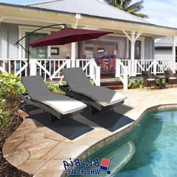 Patio Porch Pool Chaises Lounge Chairs +  10Ft Cantilever Um